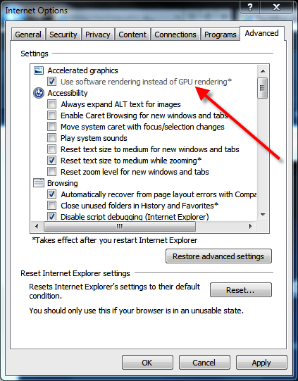 Setting your GPU options for Internet Explorer 9