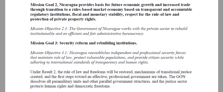 USAID Nicaragua coup market economy private property