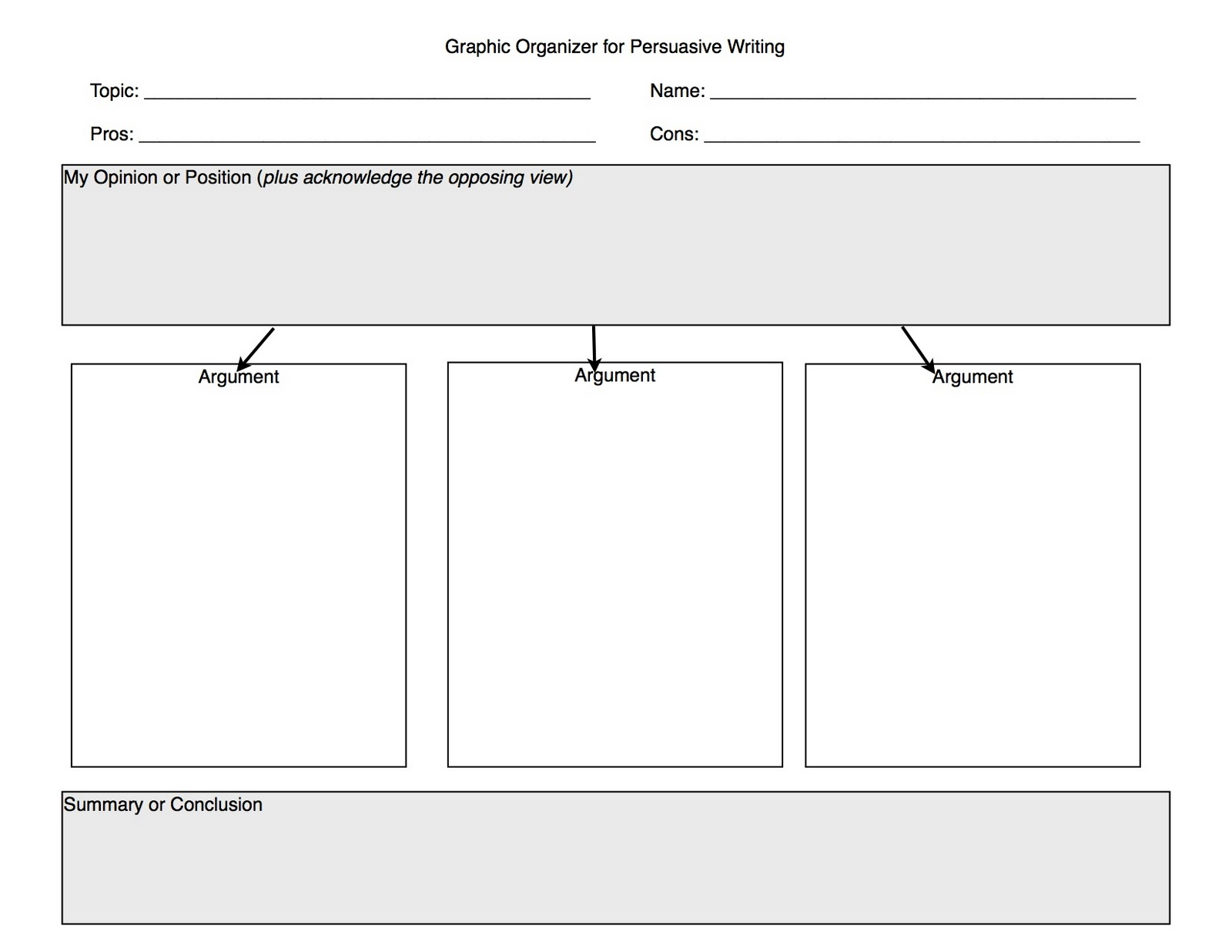 Graphic Organizers For Writing Persuasive Essays