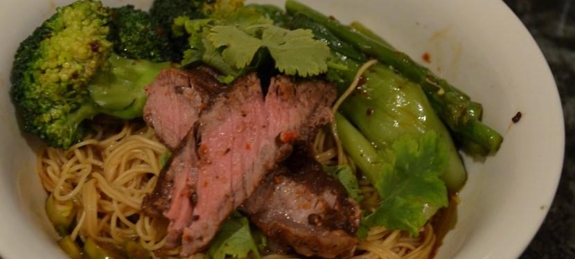 Rib eye stir-fry with dan dan noodles and vegies