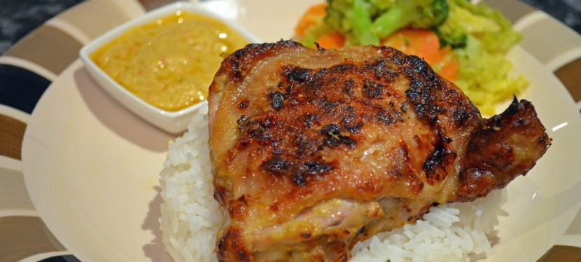 Grilled coconut chicken with lemon basil (Ayam panggang)