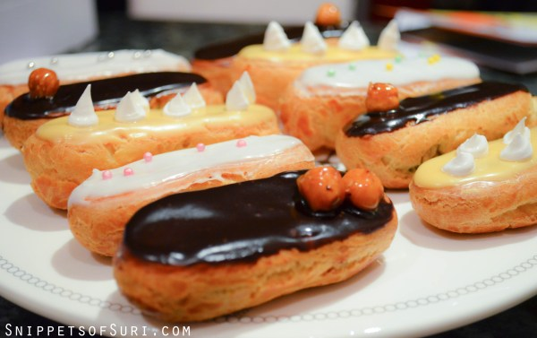 Different types of eclairs made during the short course