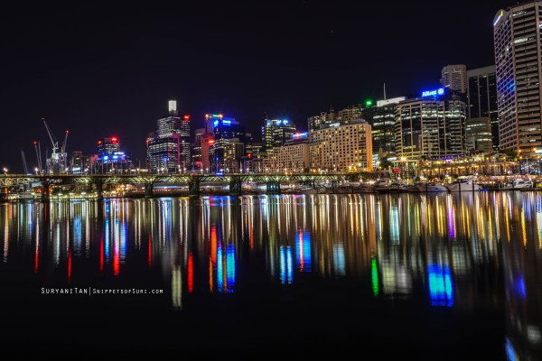 Sydney city skyline at night. Taken using NikonD800 and Nikkor 28mm f1.8G lens. Aperture f/11 and Shutter speed 1/30.