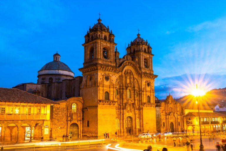 La Catedral and the Jesuit Church in Plaza de Armas Cusco Peru