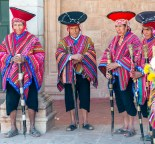 Local Elders at Sunday mass Sacred Valley Pisac Peru