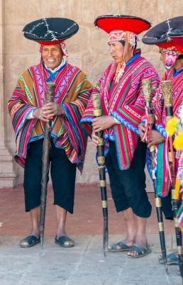 Local Elders at Church in Pisac Sacred Valley Peru