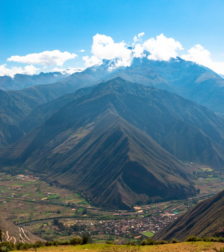 Viewing Site near Urubamba Sacred Valley Peru. The snow capped mountain is Chicon.