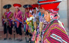 Pisac_Quechua Indians in traditional clothing_Church Mass in Quechua 1