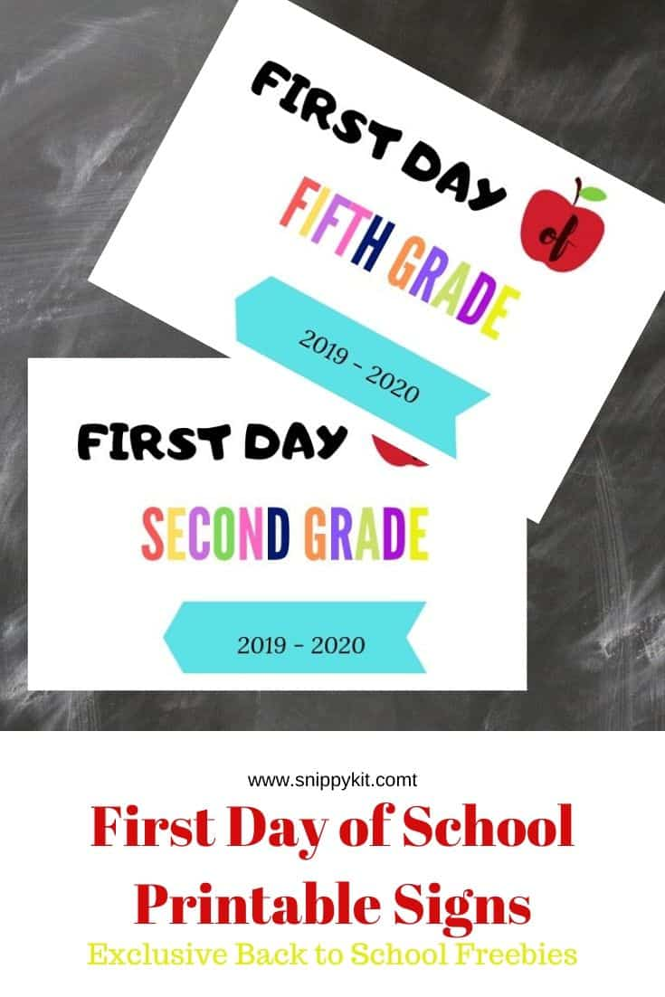 Time to print out your FREE First Day of School Printables for the First Day of School pictures to document for the 2019-2020 school year!
