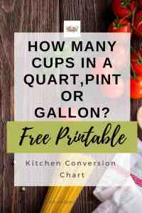 How many cups in a quart, pint, gallon? + FREE Printable chart
