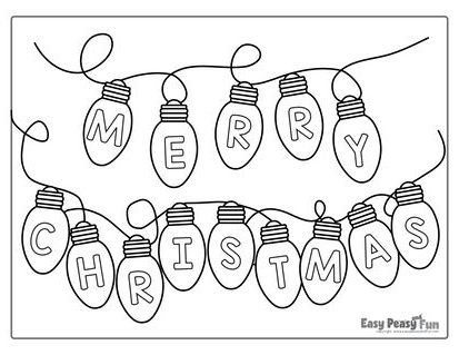 Merry Christmas lights coloring page