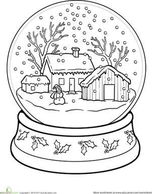 snowglobe coloring page