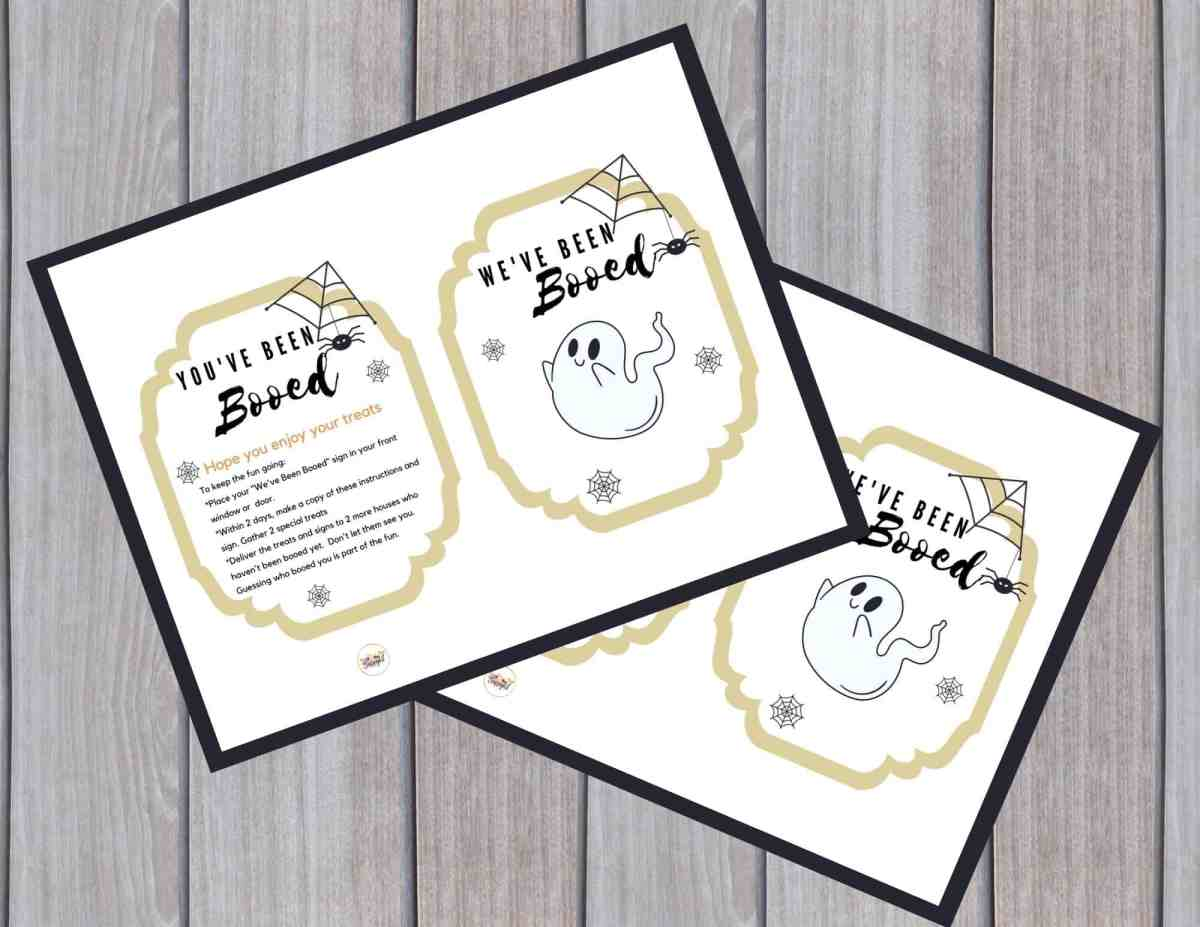 Boo your friends with our free You've Been Booed printable signs. Include the you've been booed sign and instructions with your goodies for your neighbors.