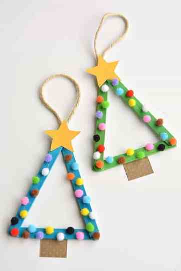 popsicle christmas tree craft for kids