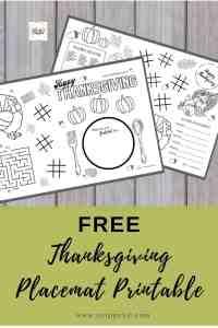 FREE Thanksgiving Placemat Printable for Kids