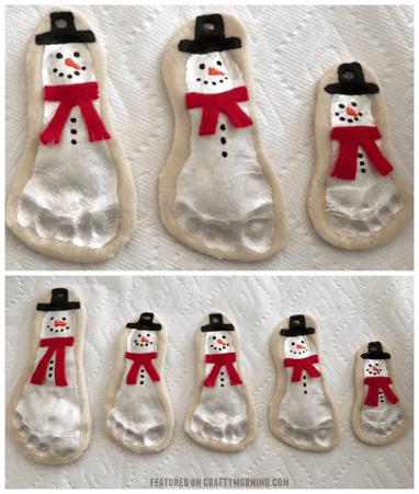 salt dough snowman footprints