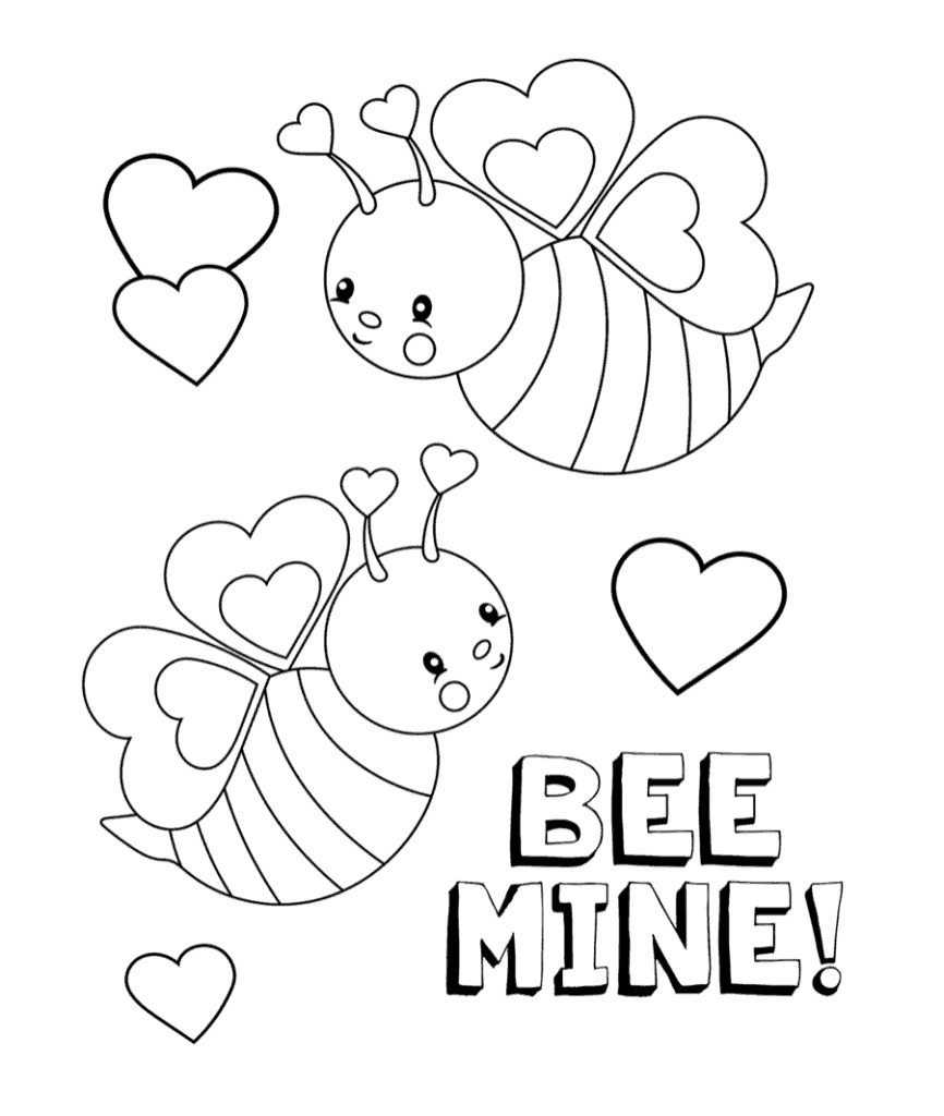 bee min valentine coloring page