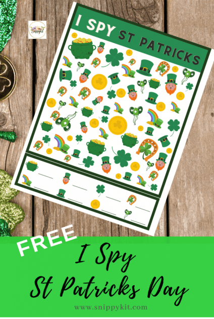 Free St. Patrick's Day I Spy printable is perfect for a classroom activity, screen free rainy day activity, boredom buster, or road trip
