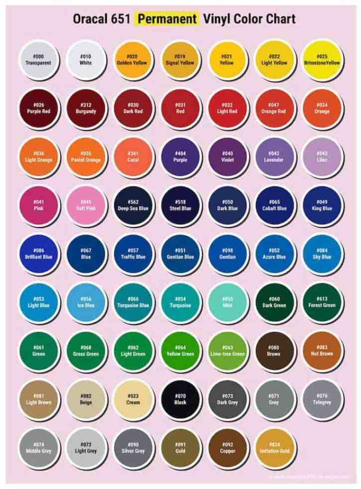 oracal 651 permanent vinyl color chart