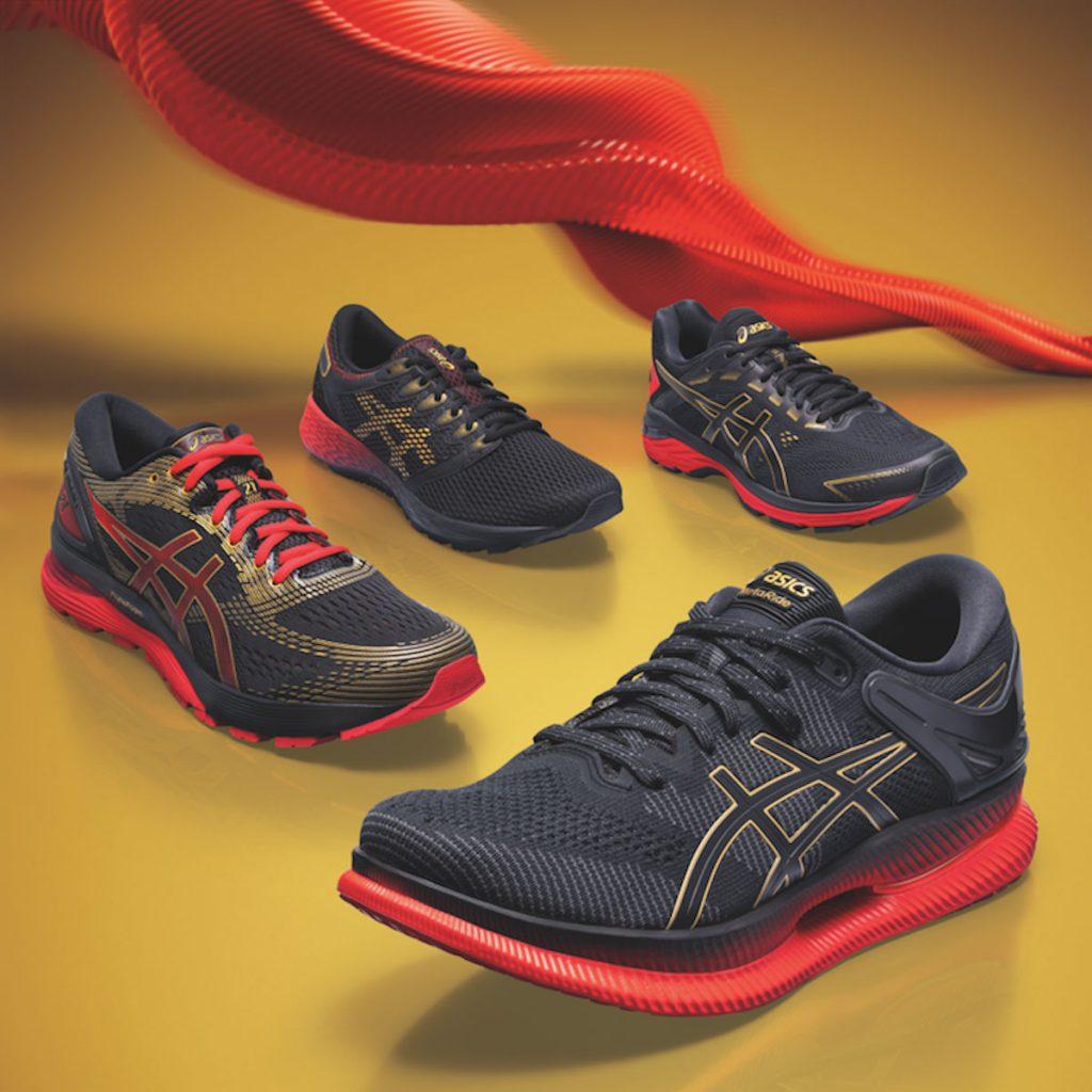 GEL-Nimbus 21, GT-2000 7 และ RoadHawk FF 2 สีพิเศษได้รับแรงบันดาลใจมาจากรองเท้า METARIDE
