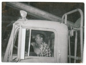 Harold Lloyd Hague driving Logging Truck in Foresthill, California cira 1960's