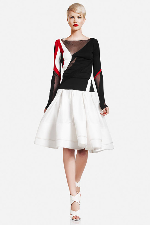 Donna Karan Paneled Mesh and Jersey top