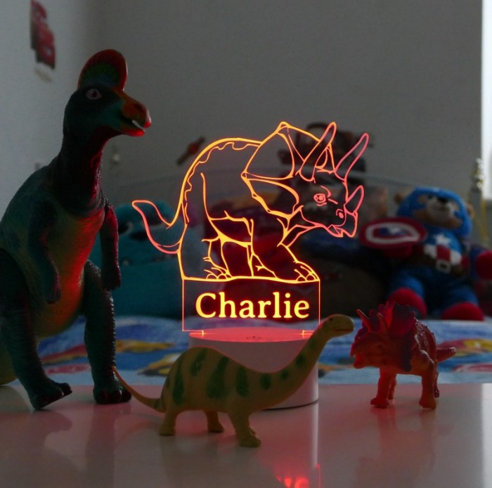 Personalised dinosaur night light