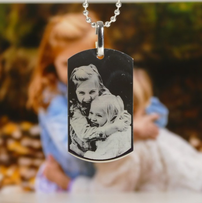 Mens photo necklace, photo engraved dog tag