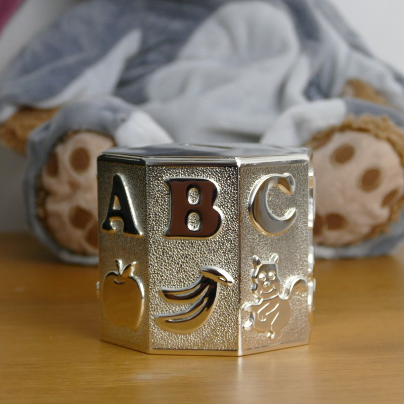 Home/Christening/Silverplated ABC Money Box. ; 