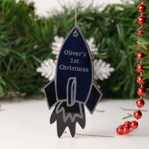 Personalised Rocket Christmas Tree Decoration