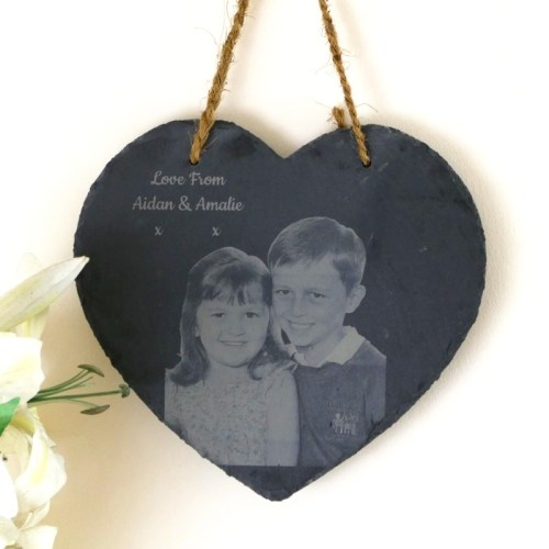 Photo engraved hanging slate heart