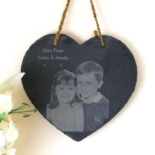 Photo engraved hanging slate heart