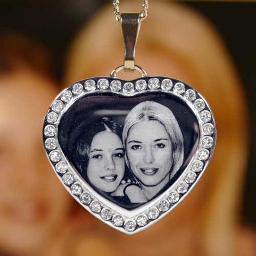Diamante heart photo necklace