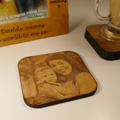 Wood photo coasters, photo engraved wooden coasters
