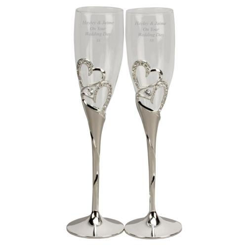 Silverplated diamante heart champagne flutes