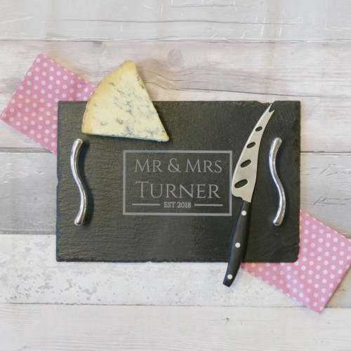 Personalised Cheese board with handles -Mr & Mrs
