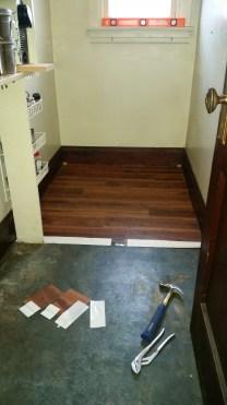 Flooring half way in.