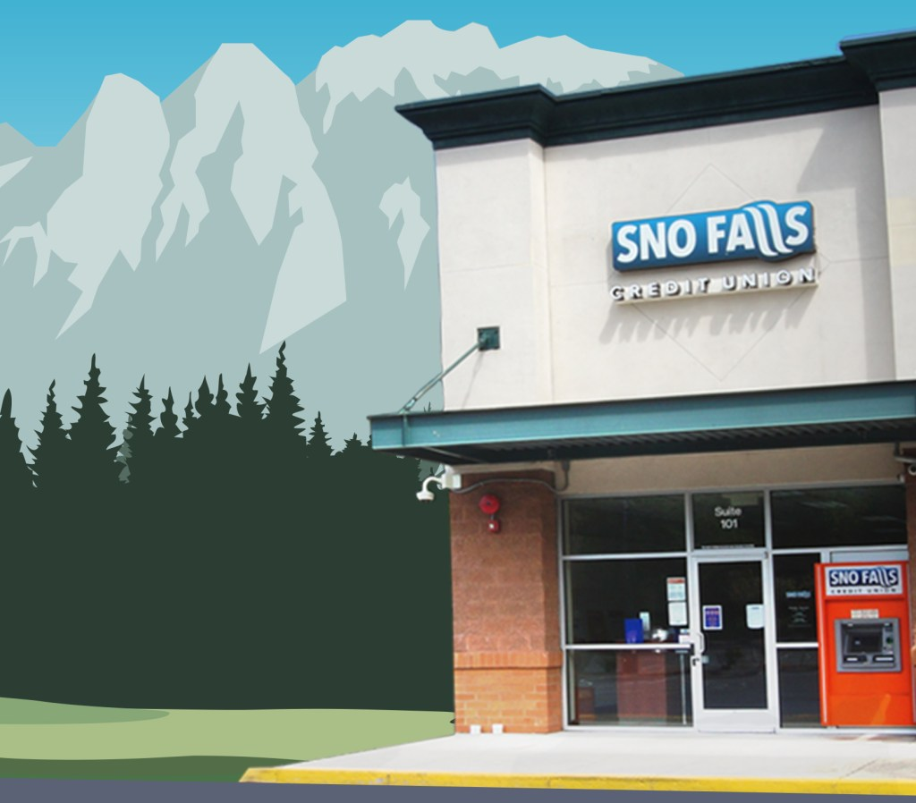 Sno Falls branch in front of illustrated mountains