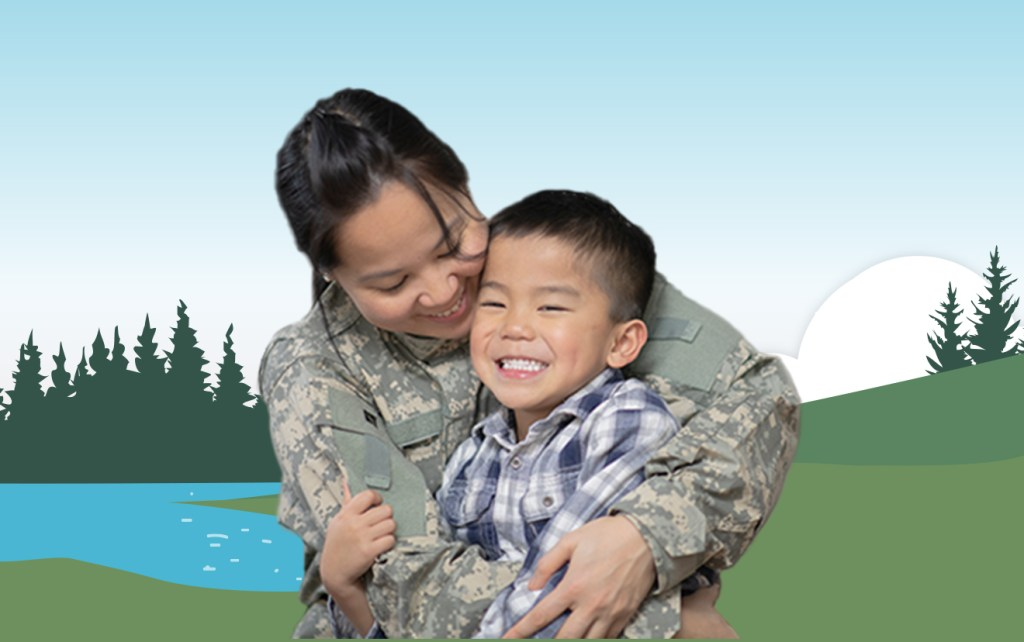 Military mother and her son hugging in front of illustrated lake