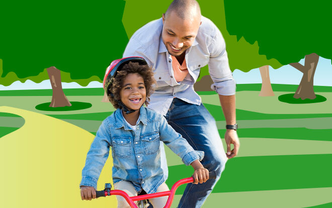 Father helping their child ride a bike in an illustrated park