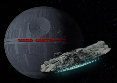 Not Beaten Yet: The Millennium Falcon as it gets sucked into the Mega Cartel Death Star.
