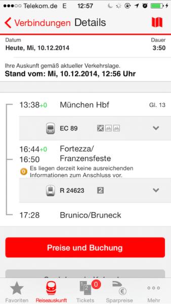 Bahn: Verbindung Deutschland - Italien