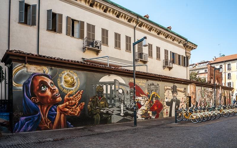 Streetart Mailand Mauer an der Basilica di San Lorenzo