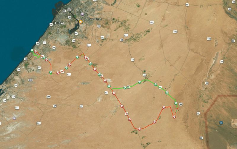 GPS-Tracking unserer Wüstensafari in Dubai