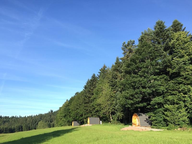 Die drei Podhäuser am Waldrand.
