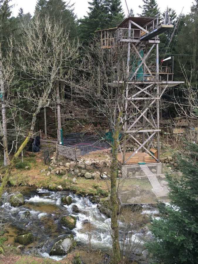 Endpunkt der Zipline in La Bresse, Vogesen