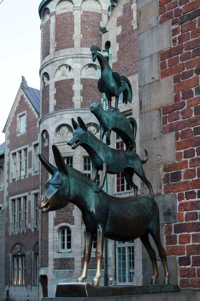 Skulptur der Bremer Stadtmusikanten.