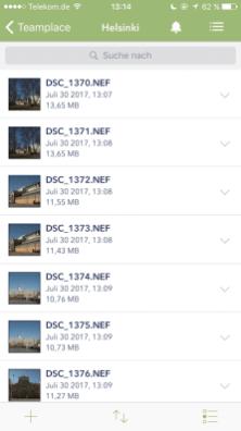 Ansicht Teamplace in der Smartphone-App