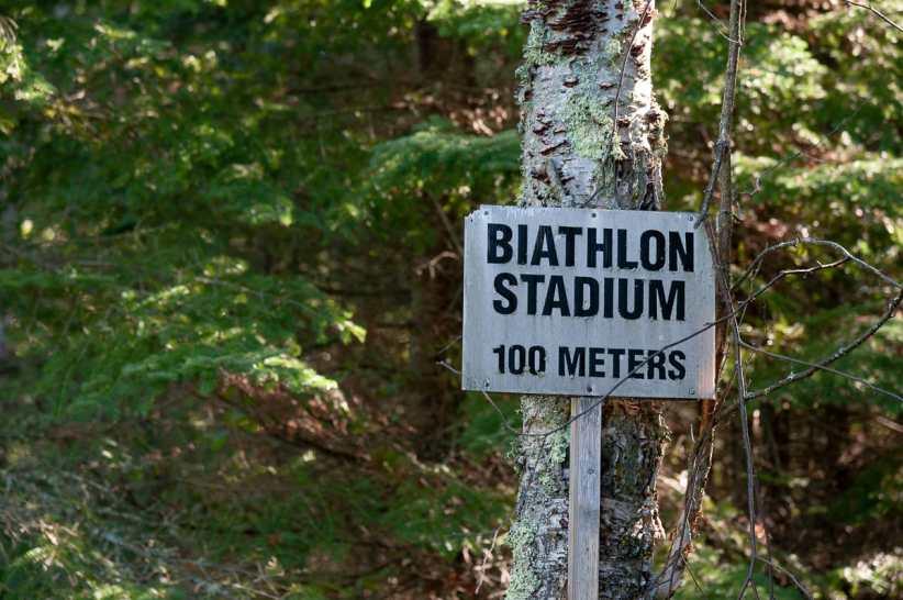 Auf dem Weg zum Biathlonstadion