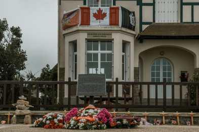 Gedenken an die gefallenen Kanadier während der D-Day-Feierlichkeiten 2018 vor dem Canada House.